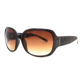 Ellen Tracy Womens Sunglass 504 2 Brown Rectangle Plastic, Solid Brown Lens - Medium