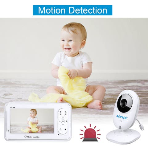 """4.3"""" LCD Wireless Video Baby Monitor 2.4GHz w/ 2-Way Talk Night Vision, Temperature Sensor Security Camera Babysitter"""