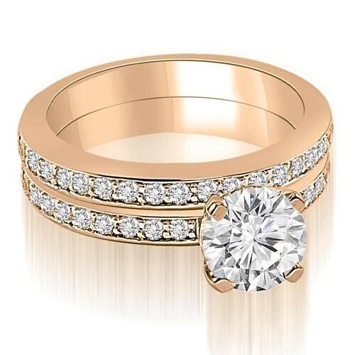 1.10 cttw. 14K Rose Gold Classic Round Cut Diamond Bridal Set