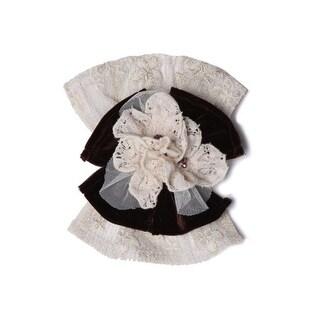 Isobella & Chloe Girls Ivory Bow Flowers Lace Headband