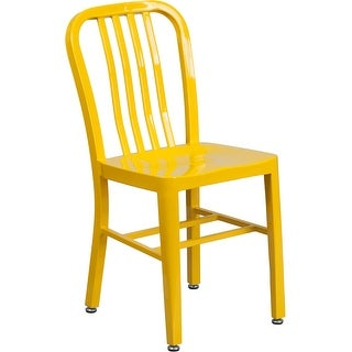 Brimmes Yellow Metal Chair w/Vertical Slat Back Back for Patio/Bar/Restaurant