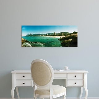 Easy Art Prints Panoramic Images's 'Tourists on the beach, Ipanema Beach, Rio de Janeiro, Brazil' Premium Canvas Art
