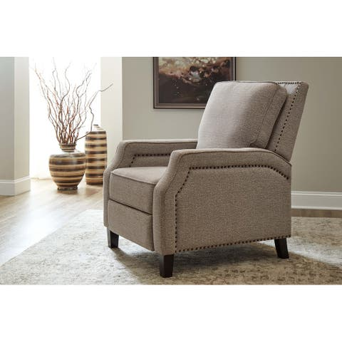 Devi Pushback Fabric Recliner with Nailhead Trim