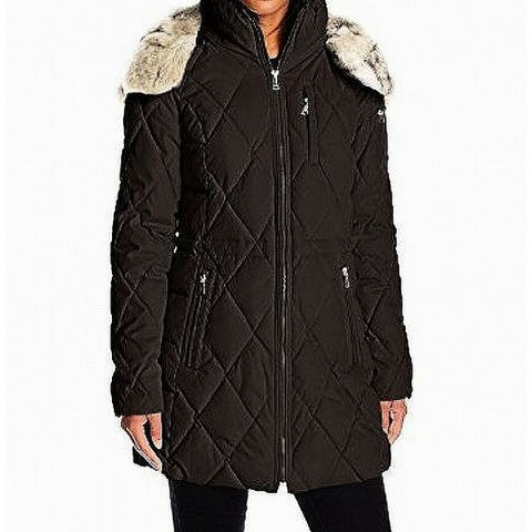 Nautica Deep Womens Small Quilted Fau-Fur Jacket