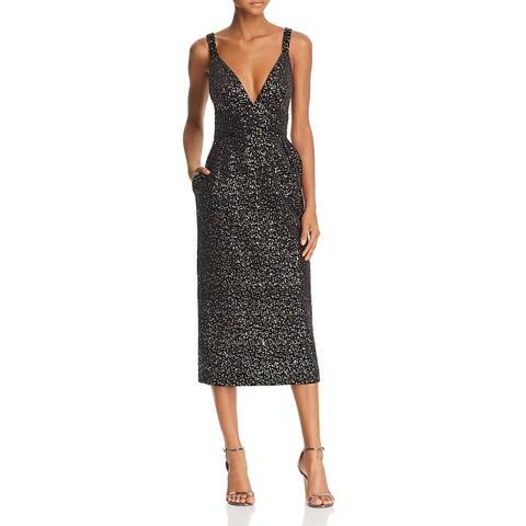 Jill Stuart Womens Midi Dress Velvet Sequined