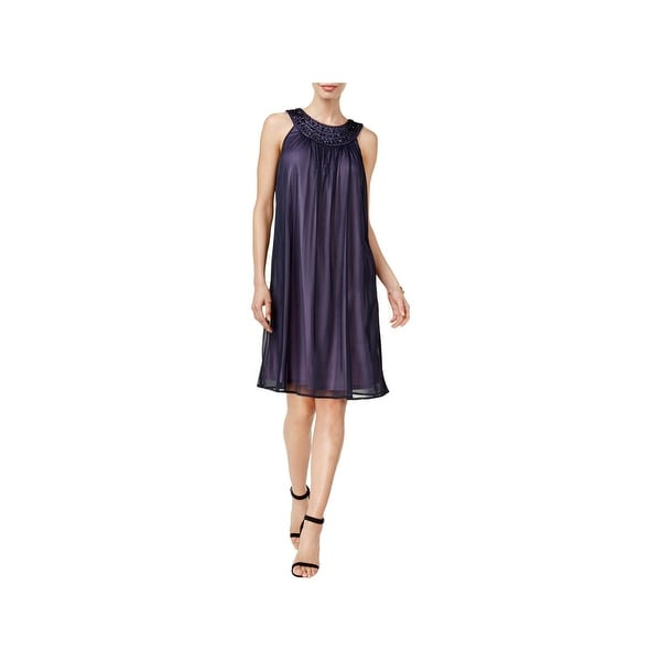 Jessica Howard Womens Cocktail Dress Embellished Sheer