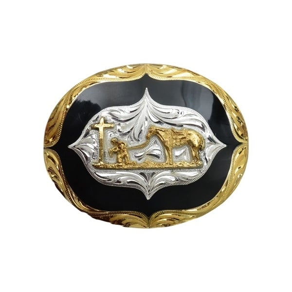 "Silver Strike Western Belt Buckle Mens Kneel Cowboy Silver Gold - 4 1/4"" x 3 1/4"""