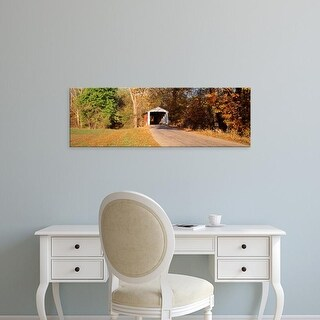 Easy Art Prints Panoramic Images's 'Melcher Covered Bridge Parke Co IN USA' Premium Canvas Art