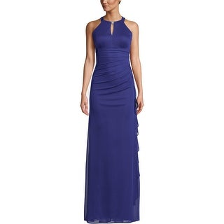Betsy & Adam Womens Evening Dress Embellished Keyhole - Royal