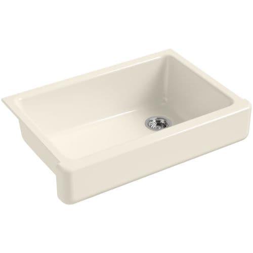 "Kohler K-5826 Whitehaven 32-1/2"" Single Basin Farmhouse Cast-Iron Kitchen Sink with Short Apron"