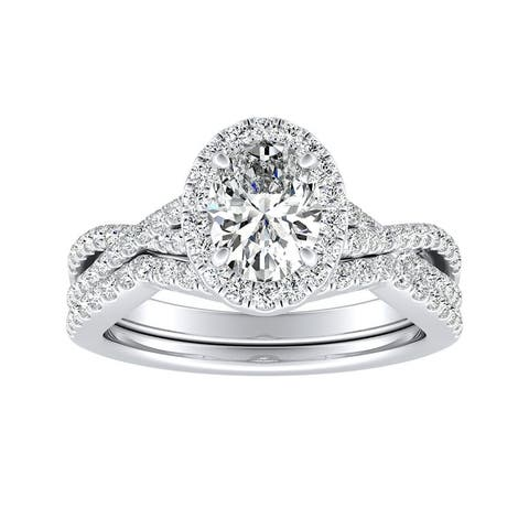 Ethical Sparkle 1 2/5ctw Lab Grown Oval Halo Diamond Engagement Ring Set