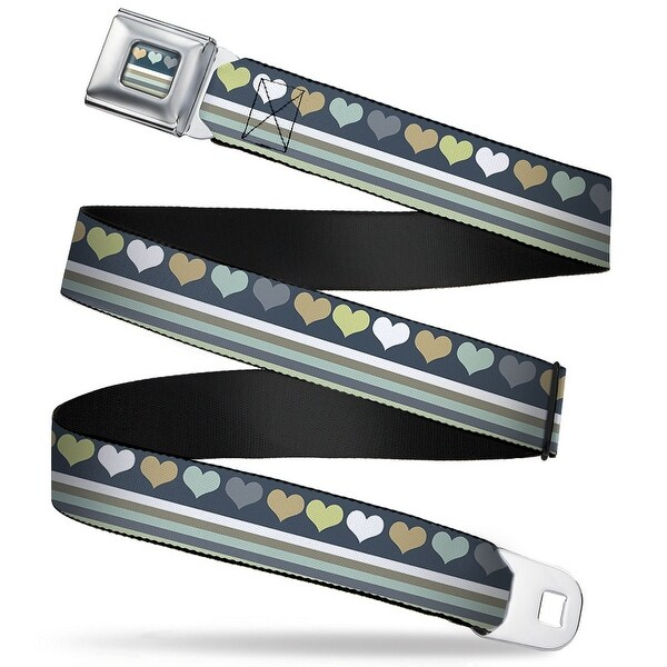 Rz Heart Stripes Full Color Greens Grays Rz Heart Stripes Greens Grays Seatbelt Belt