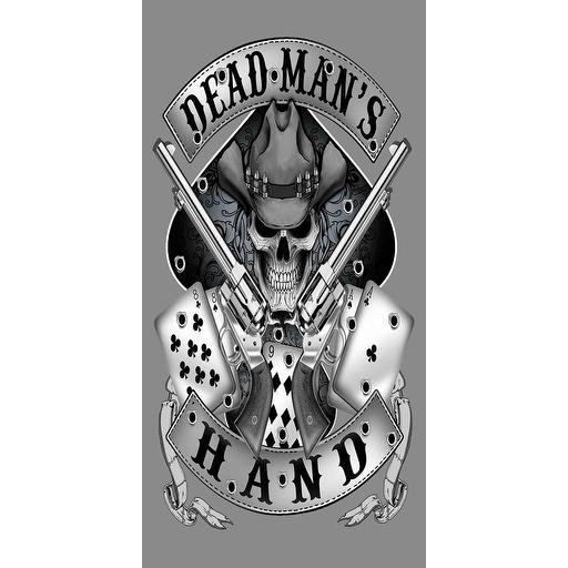 Beach Towel 30X60 Grim Reaper's Dead Man's Hand Pistols Outlaw Skull Pool Bath