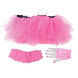 Tutu Set Neon Pink Adult Costume OS
