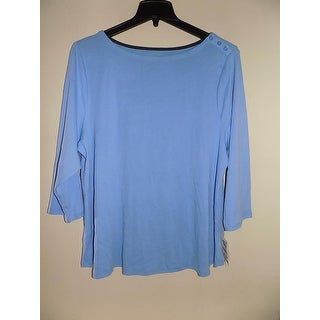 Charter Club Elbow-Sleeve Boat-Neck Top, Blue, Size XL
