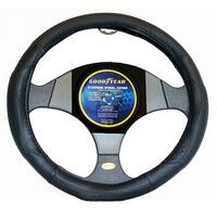 """Goodyear Dia 14.5-15.5"""" Black Leather Grey Suede Steering Wheel Cover SWC-1307"""
