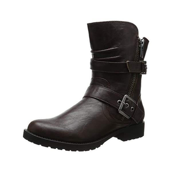 Penny Loves Kenny Womens Derrick Motorcycle Boots Faux Leather Belted
