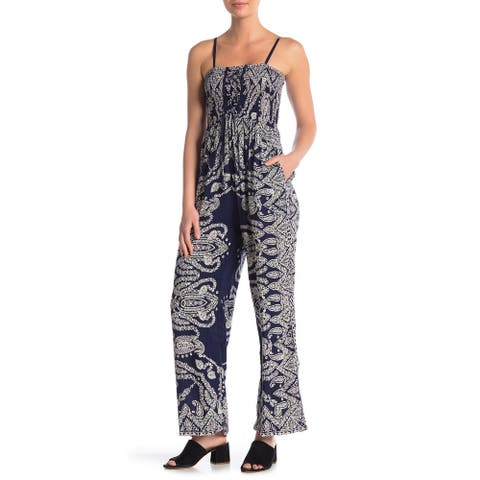 Angie Women's Jumpsuit Blue Size Small S Smocked Front Tie Paisley