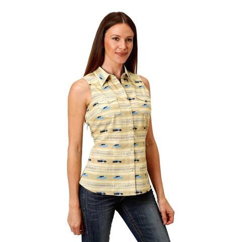 Roper Western Shirt Womens Sleeveless Print Cream