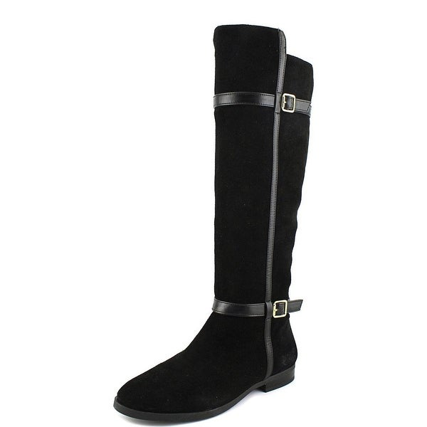 INC International Concepts Ameliee2 Women Round Toe Suede Black Knee High Boot