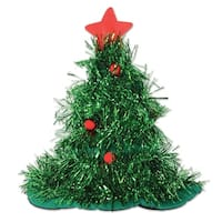 Pack of 12 Green Tinsel Christmas Tree Hats Costume Accessories