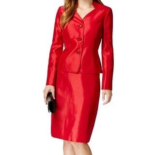 Le Suit NEW Red Crimson Women's Size 4 Three-Button Skirt Suit Set