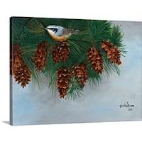 Julie Peterson Premium Thick-Wrap Canvas entitled Pine Cones Nuthatcher