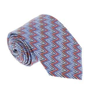 Missoni U4704 Blue/Red Chevron 100% Silk Tie - 60-3
