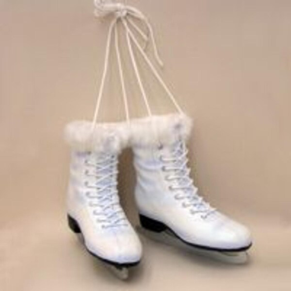 "6"" Winter White Pair of Women's Ice Skates Christmas Ornament"