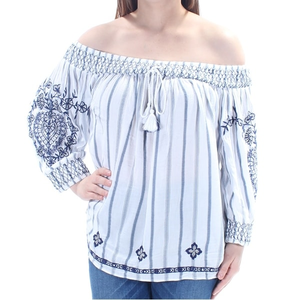 5ec8a723cf7bd Shop INC Womens Blue Embellished Striped Long Sleeve Off Shoulder Peasant  Top Size  M - On Sale - Free Shipping On Orders Over  45 - Overstock -  21802963