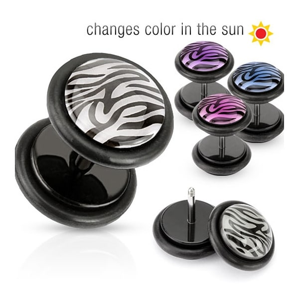 Solar Activated Tiger Print Dome Top Black Acrylic Fake Plug with O-Ring (Sold Individually)