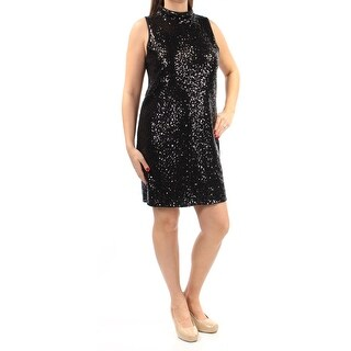Womens Black Sleeveless Above The Knee Shift Cocktail Dress Size: S