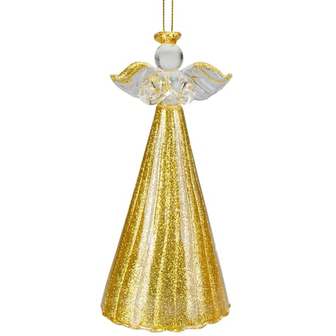 "4.75"" Gold Glitter Angel Glass Hanging Christmas Ornament"