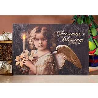 Design Toscano Christmas Blessings Angel Illuminated Canvas Wall Hanging
