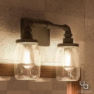 """Luxury Industrial Bathroom Light, 11""""H x 14""""W, with Shabby Chic Style, Aged Pipe Design,Antique Black Finish"""