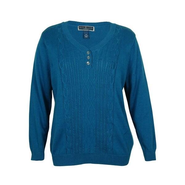 Shop Karen Scott Womens V Neck Cable Knit Sweater Aqua Lake 1x