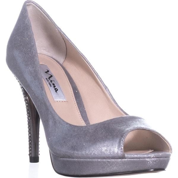 Nina Fiesta Rhinestone Heel Pumps, Silver - 8.5 us / 38.5 eu