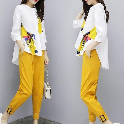 Large Size Shirt Pants Pants Pants Casual Fashion Two-Piece