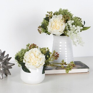 G Home Collection Luxury White Peony and Mixed Green Flower Arrangement