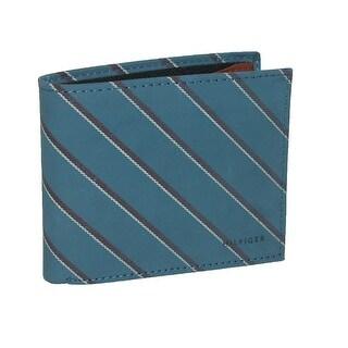 Tommy Hilfiger Men's Leather School Boy Stripe Double Billfold Wallet - One Size