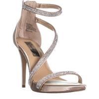 I35 Senaraa Bejeweled Cross Strap Sandals, Beige
