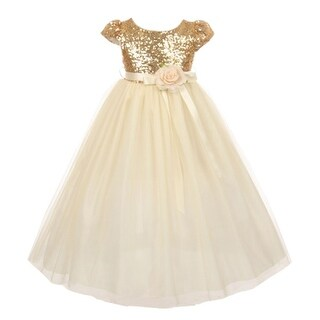 Little Girls Gold Sequin Bodice Floral Adornment Tulle Flower Girl Dress 2T-6