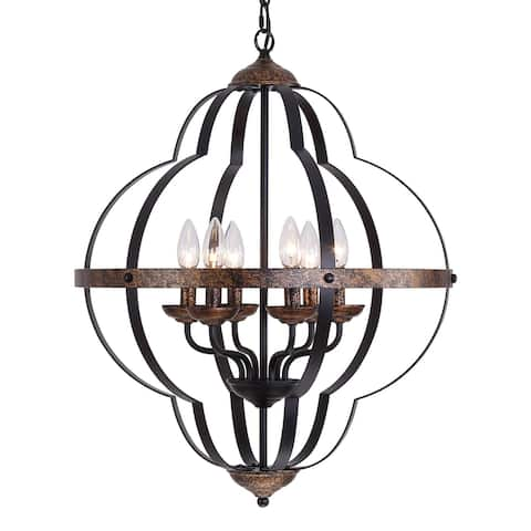 "Industrial Iron 6-Light Candle Style Geometric Chandelier - W20.9"" X D20.9"" X H26.4"""