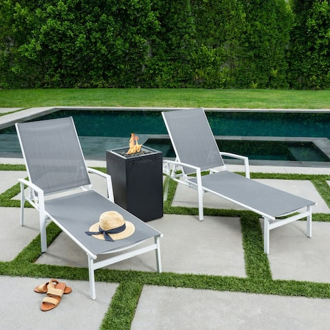 Hanover Naples 3-Piece Sling Lounge Set featuring a 40,000 BTU Column Fire Pit, White Frame / Gray Sling