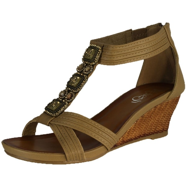 Refresh Women's Ginny-10 Wedge Sandals - Taupe - 8 b(m) us