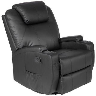 Costway Electric Massage Recliner Sofa Chair Heated 360 Degree Swivel with Cup Holder - Black