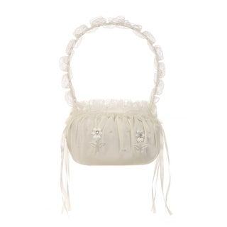 Cinderella Couture Ivory Satin Lace Rhinestone Flower Pearls Flower Girl Basket