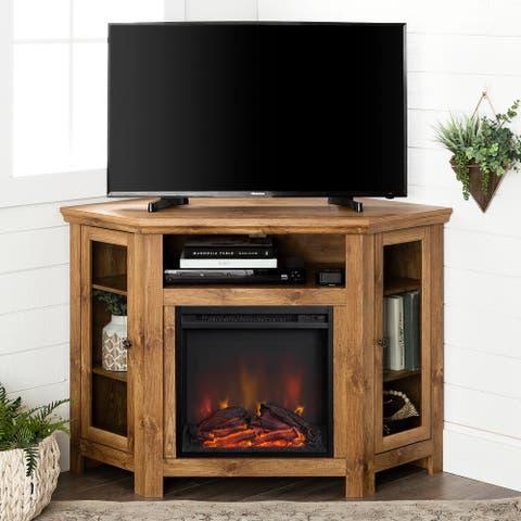 48-inch Corner 2-door Fireplace TV Stand Console - Barnwood