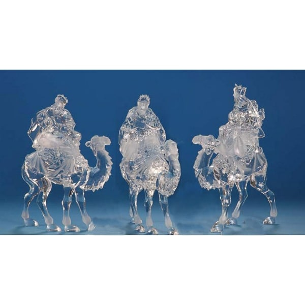Pack of 6 Icy Crystal Religious Christmas Kings on Camels Nativity Figures 12""