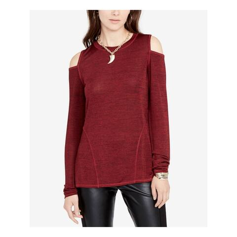 RACHEL ROY Womens Maroon Long Sleeve Crew Neck Sweater Size S